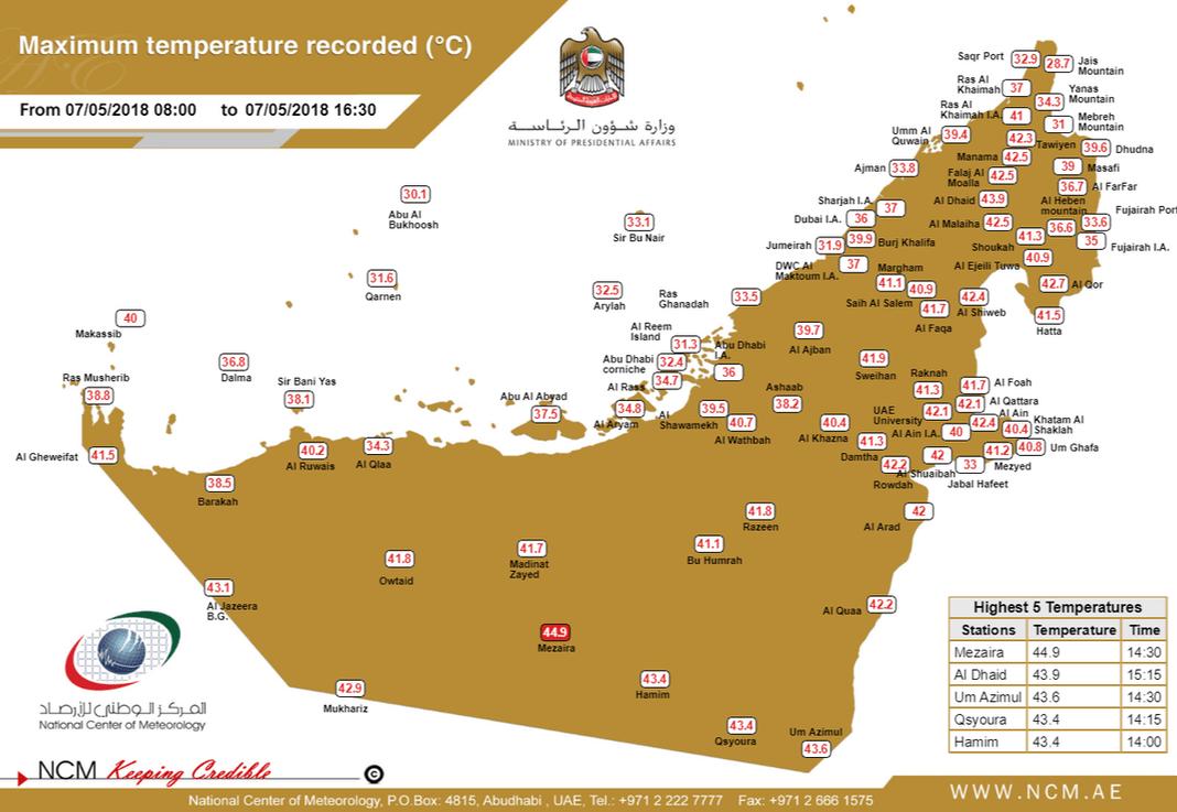 Температура в ОАЭ повысится до +45