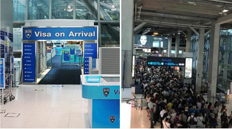 Туристы проводят полдня в аэропорту, чтобы получить визу по прибытию в Таиланд